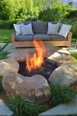 contemporary-patio-with-rustic-firepit
